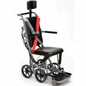 Narrow wheelchair with four small wheels and several seatbelts