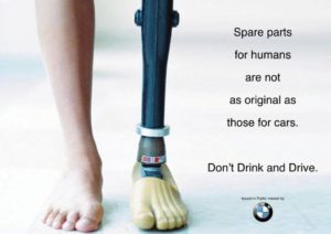 BMW ad shows prosthetic leg, comparing it to a car spare part