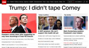 Screenshot of CNN's homepage without CSS override.