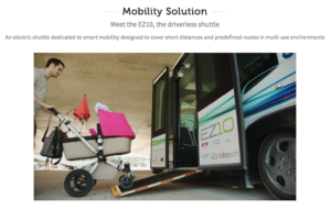 Screenshot showing the deployed ramp of the EZ10 with a parent pushing a stroller