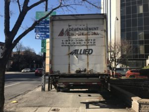 Allied van blocking the sidewalk