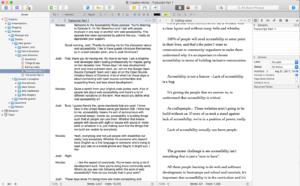 Screenshot of Scrivener writing app