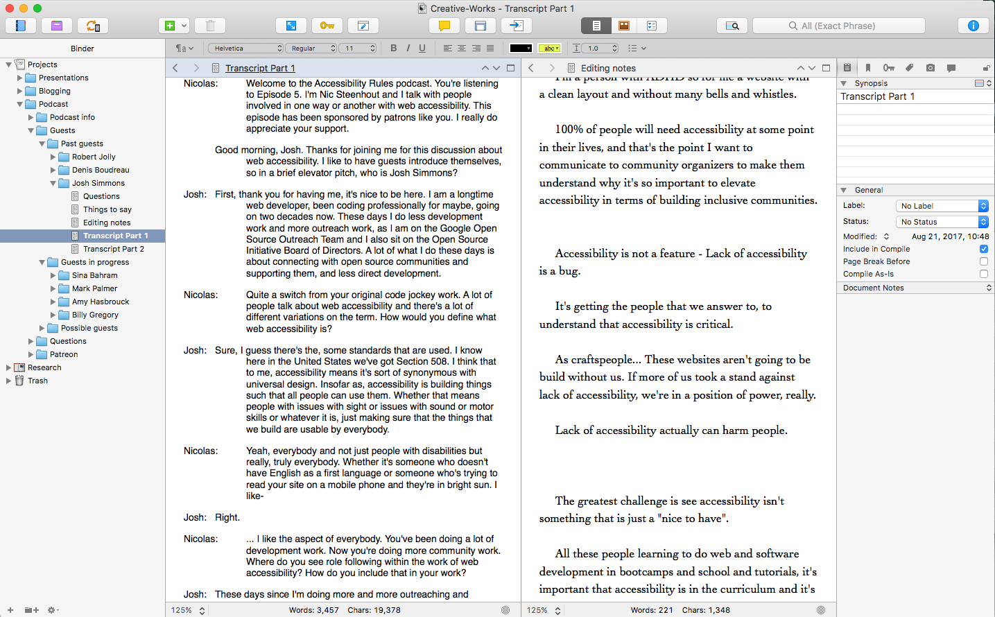 Using Scrivener For Podcasting Part Of A Whole