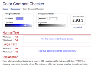 Screenshot of the webaim contrast checker interface