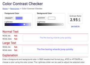 Screenshot of the webaim contrast checker interface