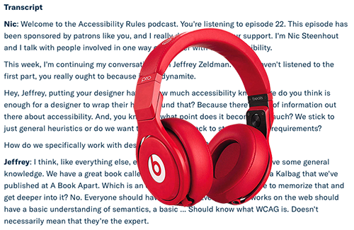 Red headphones over a screenshot of a podcast transcript