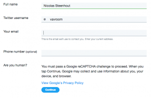 Screenshot of a form on Twitter site